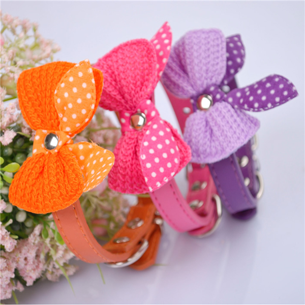 5 Color Adjustable Dog Bowknot Collars PU Leather Pet Puppy Cat