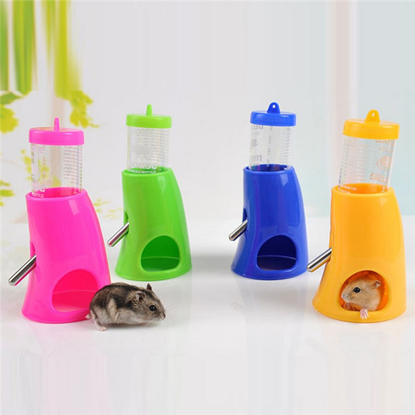 2 In 1 Plastic Hamster Water Bottle Hut Rat Mouse Pet Drinking F