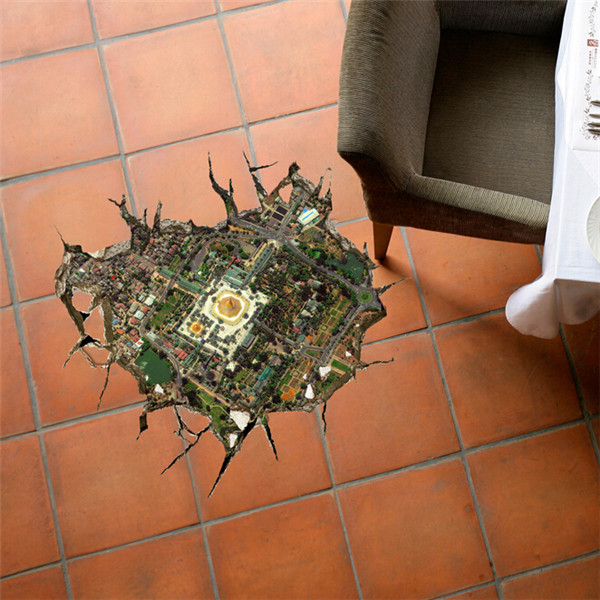 3D Floor Hole Decals Removable City Overlook Wall Stickers Home