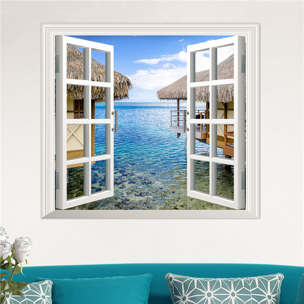 3D Artificial Window View 3D Wall Decals Sea View Room Stickers