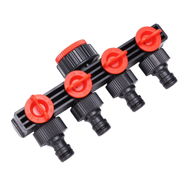 4 Way Water Pipe Faucet Connector With Switch Valve