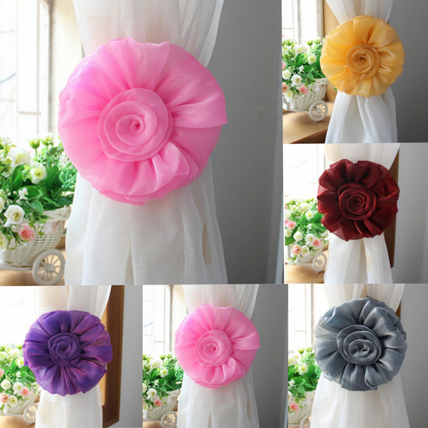 1 Pair Rose Flower Window Curtain Tieback Clip-on Fastener For H