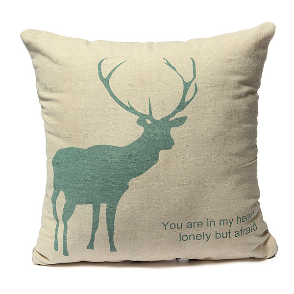 42X42cm Linen & Cotton Creative Elk Pillow Cases Home Sofa Cushi
