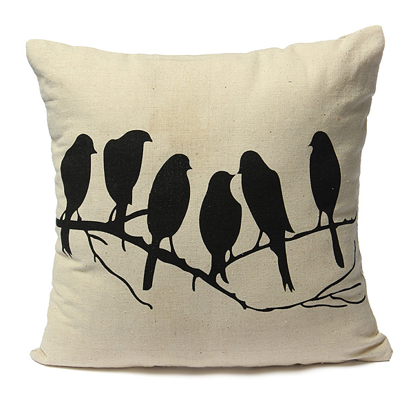 42x42cm Bird Printed Pillow Case Home Office Decorated Cushion C