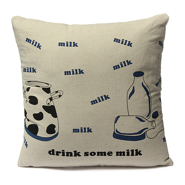 42x42cm Creative Milk Cup Printed Pillow Case Home Cushion Cover