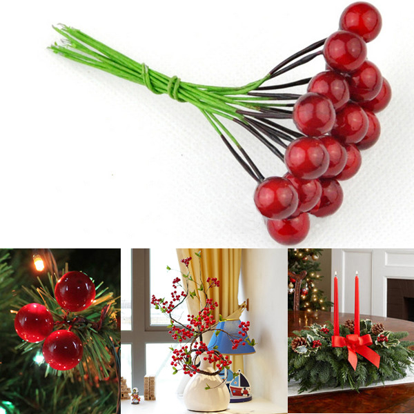 10PCS Artificial Red Fruit Cherries Holly Berries Christmas Deco