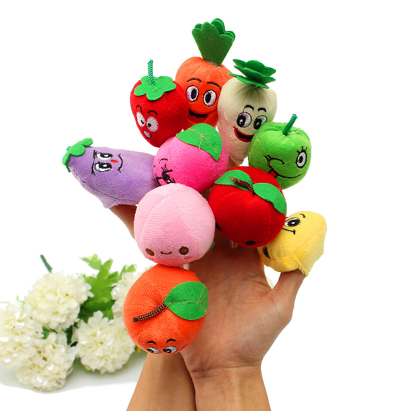 10 Pcs Plush Finger Puppets Doll Fruits Vegetables Sets Baby Toy