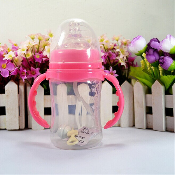 210ml PP Wide Mouth Infant Child Baby Feeding Bottle Silicone Ni