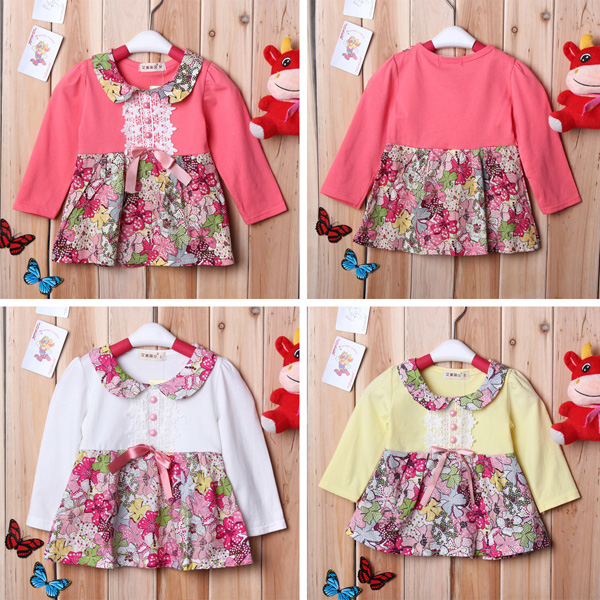 Autumn Kids Baby Girl Long Sleeve Floral Bow Dress Top Skirt