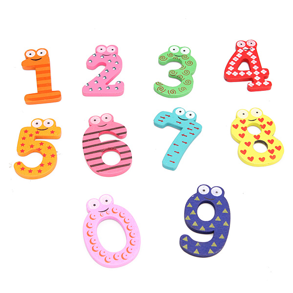 10Pcs Baby Kid Numbers Wooden Fridge Magnet Stick Decoration Toy