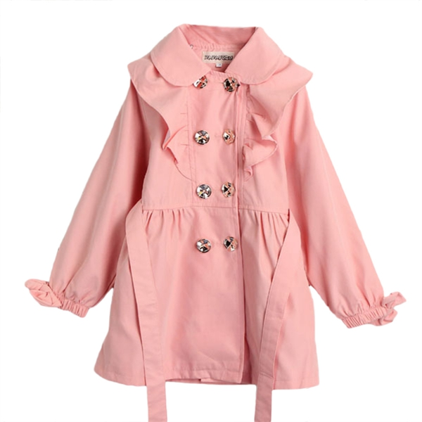4-7Y Girl Double-Breasted Trench Wind Jacket Fall Winter Outwear