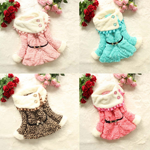 Baby Children Girls Padded Casual Warm Coat Jacket Outwear