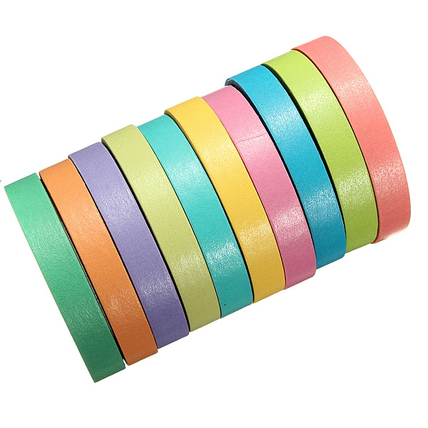 10 Paper Tape Colorful Decorative Rainbow Sticky Adhesive Scrapb