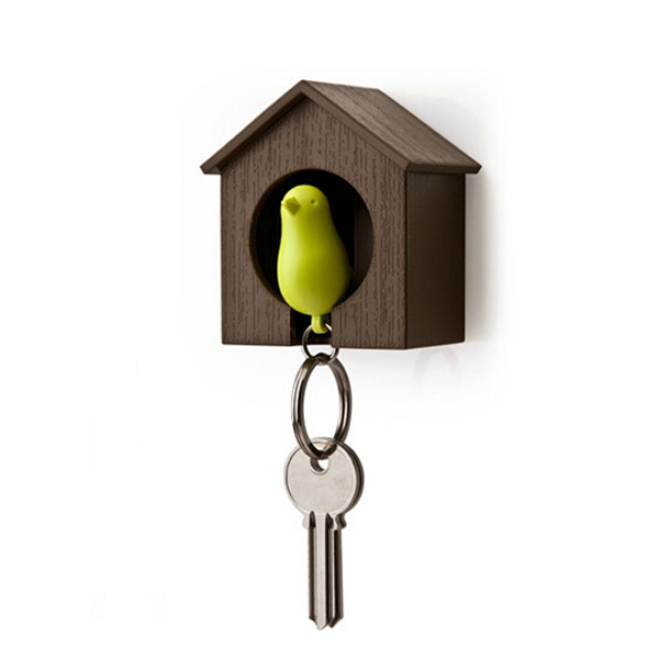 House Bird Nest Sparrow Key Chain Ring Wall Hook Holder Whistle