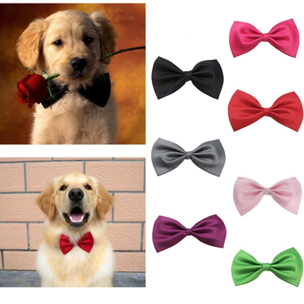 Adjustable Dog Cat Bow Tie Necktie Cotton Colorful Cool Collar