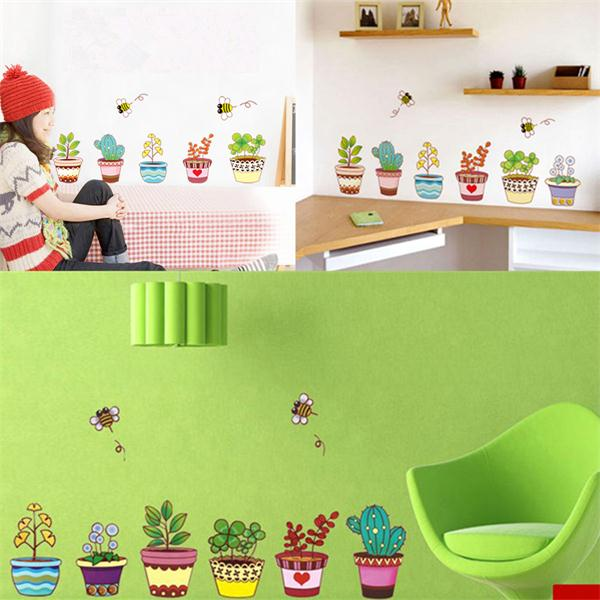 6 Colorful Potted Flowers Plants Bee Wall Stickers Rural Garden