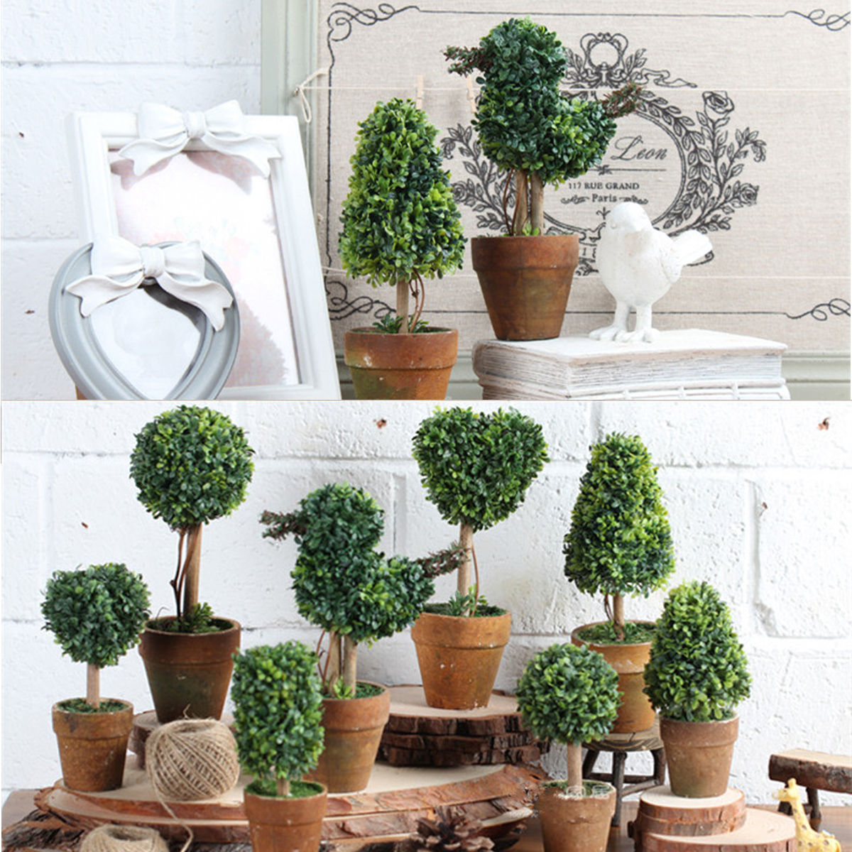 Artificial Potted Plant Plastic Garden Grass Ball Topiary Tree P