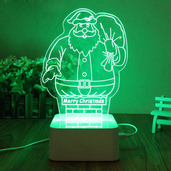 Touch LED USB 3D Santa Claus Christmas Tree Night Lamp For Xmas