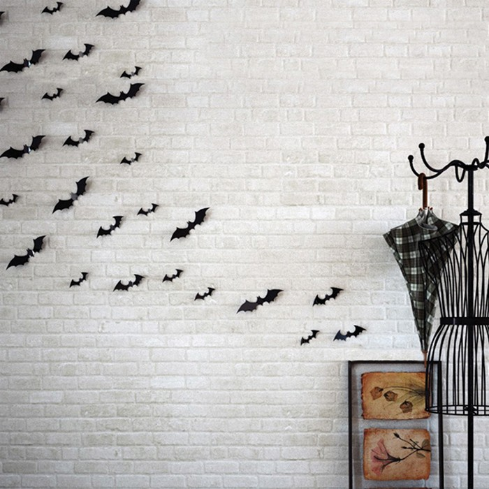 12pcs Halloween 3D Black Bat Wall Sticker Halloween Party Home D