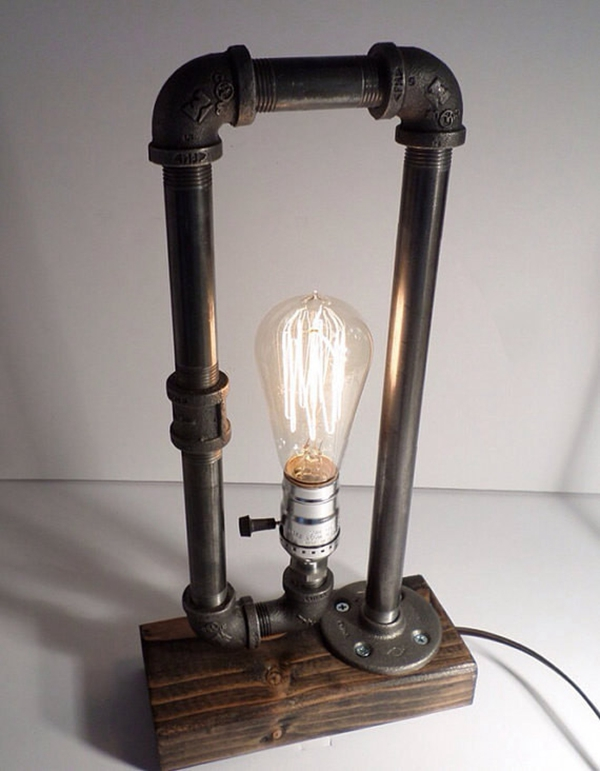 Creative Vintage Antique Loft Edison Bulb Water Pipe Table Light