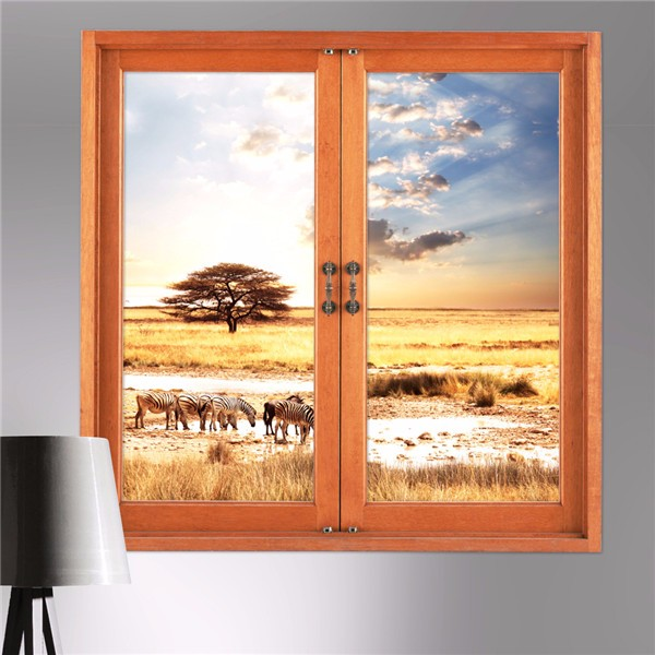 3D Wall Decals 3D Artificial Window View Removable Grassland Sti