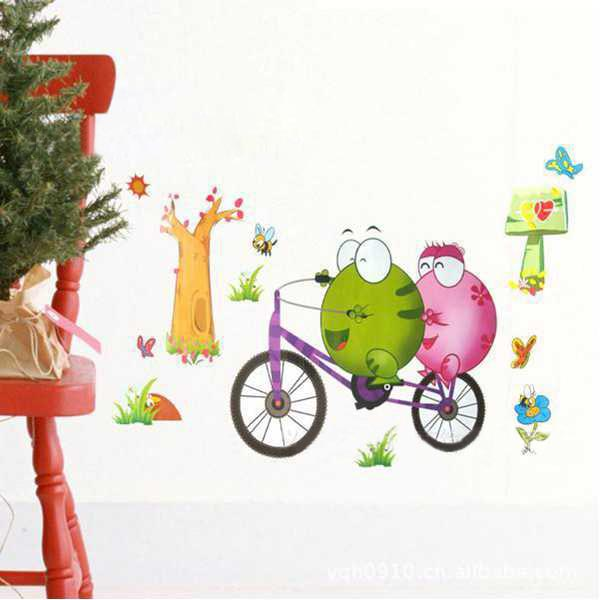33*60CM Reuse Bicycle Frog PVC Wall Sticker TC1098