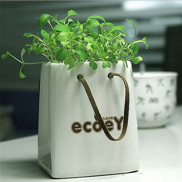Ceramic Handbag Grass Mini Office Desktop Plant Radiation-Proof