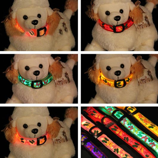 Adjustable Colorful Butterfly Pet LED Nylon Night Safety Collar