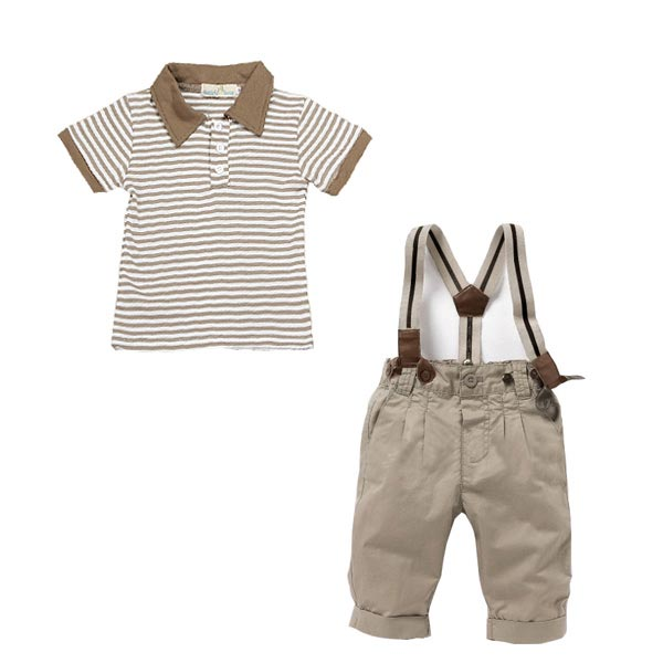 3 Pcs Baby Boys Cool Outfits Strips Tops+Pants+Braces Clothing