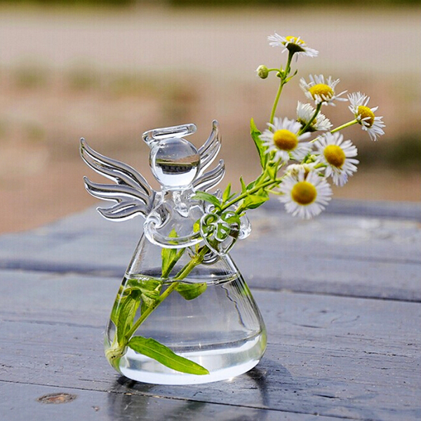 Angel Hanging Glass Plant Flower Vase Hydroponic Pot Office