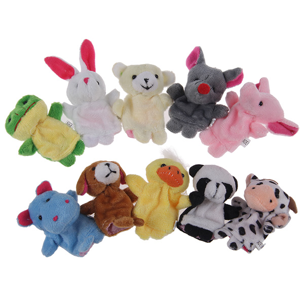 10 Pcs Plush Animal Finger Puppet Set Play Learn Story Toy Baby
