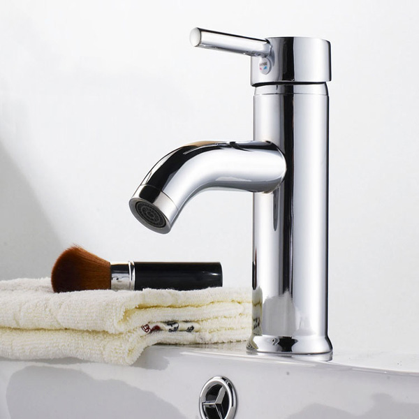 Brass Single Hole Bathroom Basin Hot And Cold Water Mixer Tap
