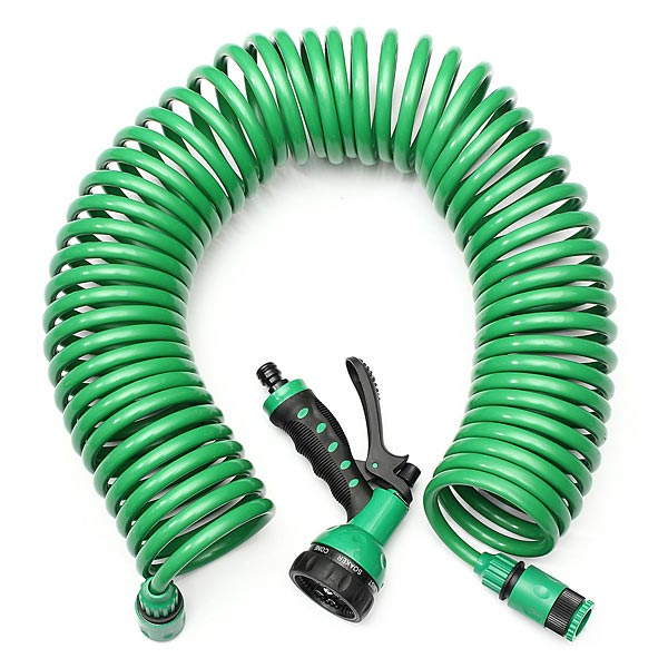 15M EVA Coiled Spiral Pipe Stretch Garden Hose With Nozzle