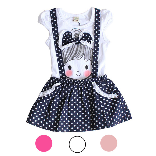 1PC New 2014 Baby Girl's Short Sleeve Polka Dots Strap Dress Wea
