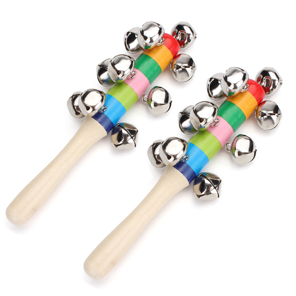 2Pcs Baby Kid Rainbow Wooden Handle Bell Stick Shaker Rattle Toy