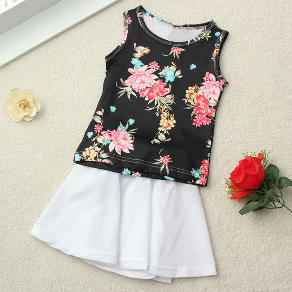 2015 Infant Baby Girls 2Pcs Flower Top+Solid Skirt Dress Outfits