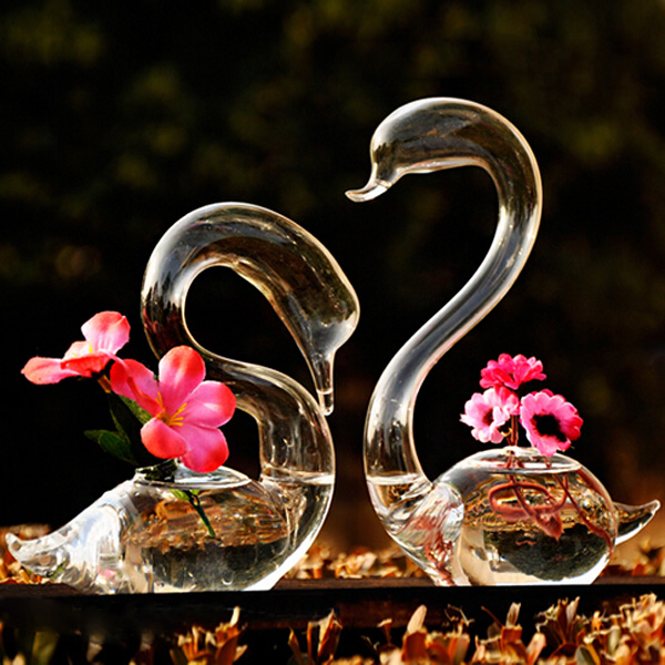 2pcs Loving Swans Flower Watering Plants Glass Vase Home Decor