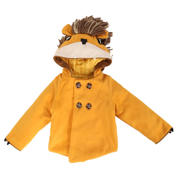 Baby Children Boy Girl Cartoon Lion Woolen Hooded Double Breaste