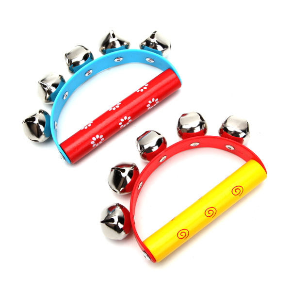 2Pcs Babies Kids Held Tambourine Percussion Rattles Musical Inst