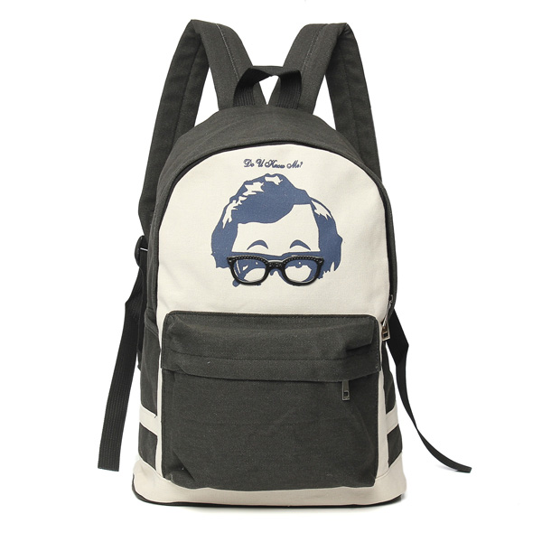 Canvas Casual Glasses Backpack Rucksack Shoulder Bag Travel Scho