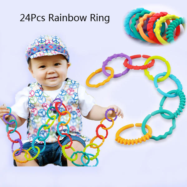 24Pcs Baby Kid  Rainbow Circle Fingers Connected Loop Baby Toy H