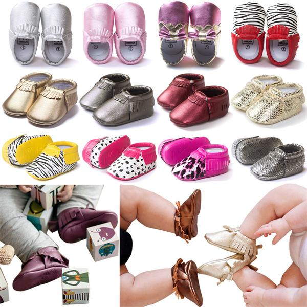 0-12 Months Baby Infant Toddler Tassel Leather Crib Shoes Moccas