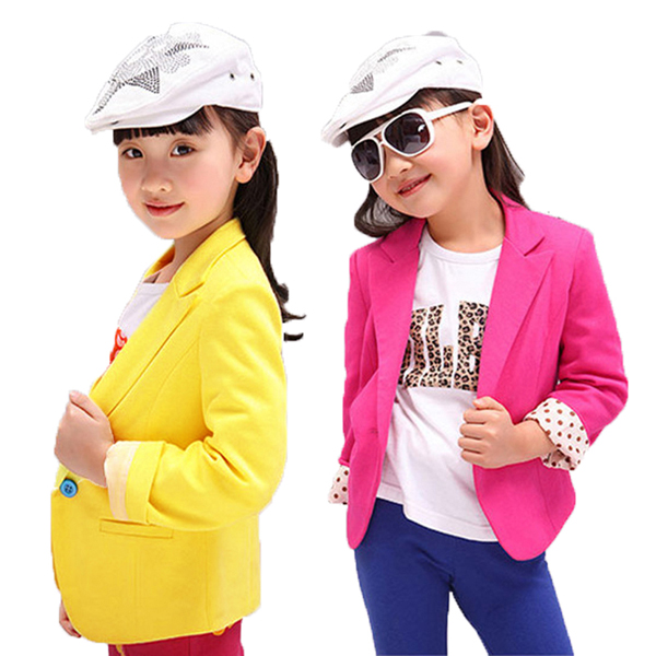 2015 New Baby Girls Candy Colour Suit Jacket Coat Kids Outwear C