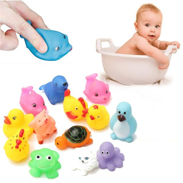 13Pcs Rubber Float Sounding Animals Baby Kids Bath Toys Wash Poo
