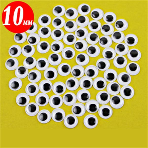 100Pcs 10mm 3D Eyes Dolls DIY Handcraft Sticky Toy Card Making W