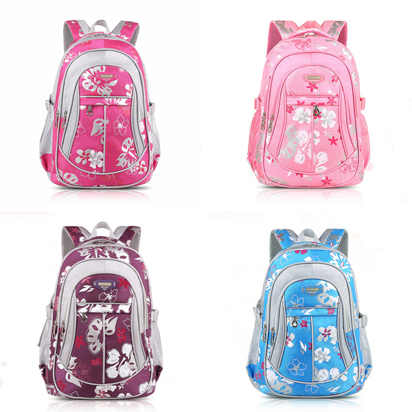 Children Canvas Flower Print School Bag Rucksack Boy Girl Tour B