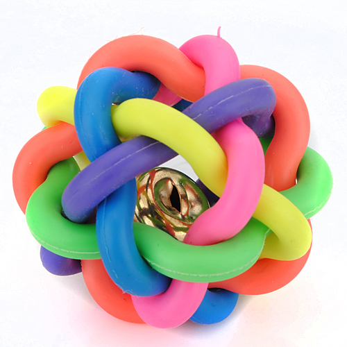 4.5CM Puppy Pet Toy Woven Rainbow Color Rubber Bell Ball